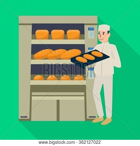 Isolated Object Of Oven And Confectioner Logo. Collection Of Oven And Bread Vector Icon For Stock.