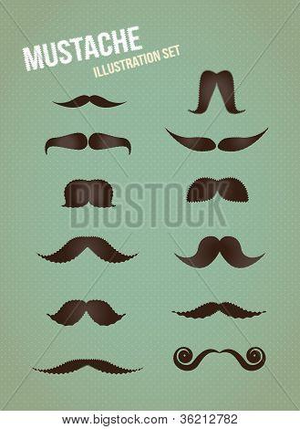 Mustache vector illustration set