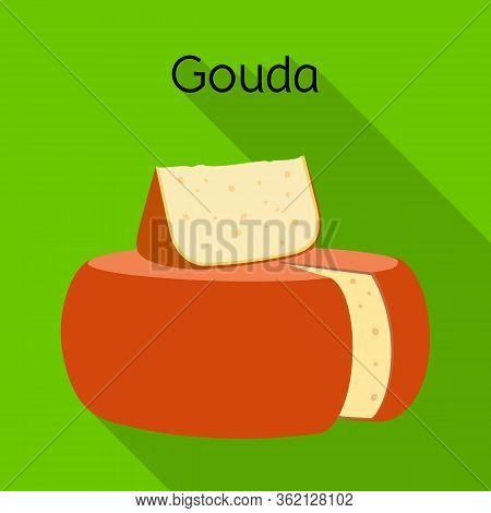 Vector Design Of Cheese And Gouda Logo. Graphic Of Cheese And Block Stock Symbol For Web.
