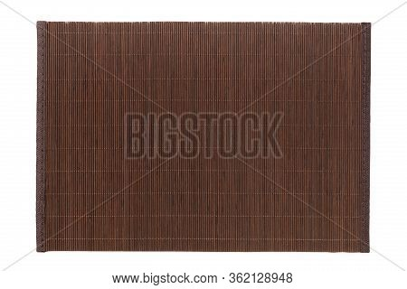Top View Of Isolated Brown Placemat For Food. Empty Space For Your Design