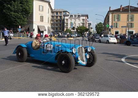 Brescia, Italy - May 19 2018: Delahaye 135 Ms 1937 Is An Old Racing Car In Rally Mille Miglia 2018,