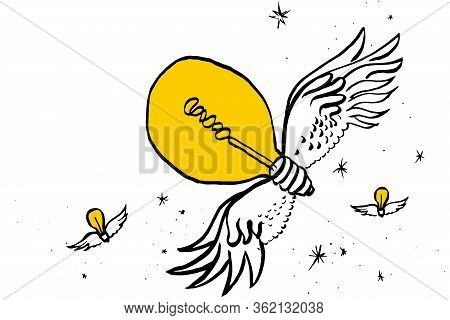 Creative Idea, A Symbol. Light Bulbs On Their Wings Fly Across The Starry Sky. Ink Drawing Manual Dr