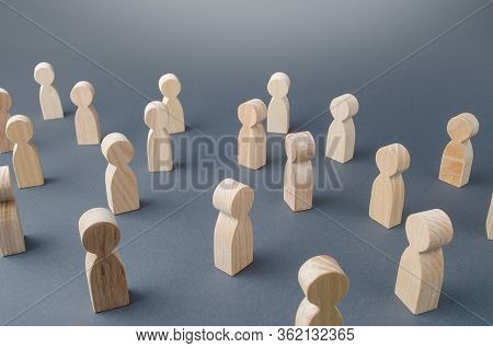 Many Figures Of People Stand At A Distance. People Society Concept. Behavior And Social Science Rela