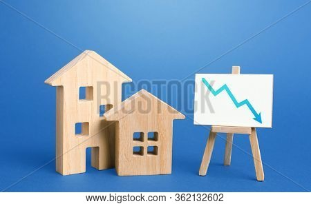 Figurines Of Houses And Down Arrow Chart Negative Trend Easel. Big Promotions And Discounts On Home