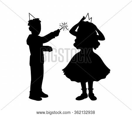 Boy In Festive Hat Holds Magic Wand In His Hand And Girl In Dress Corrects Crown On Her Head. Monoch