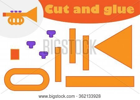 Trumpet In Cartoon Style, Education Game For The Development Of Preschool Children, Use Scissors And