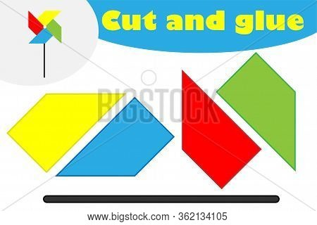 Pinwheel In Cartoon Style, Education Game For The Development Of Preschool Children, Use Scissors An