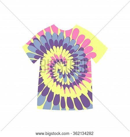 Tie Dye T-shirt Spirals. Flat Vector Trend Illustration
