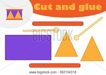 Drum In Cartoon Style, Education Game For The Development Of Preschool Children, Use Scissors And Gl