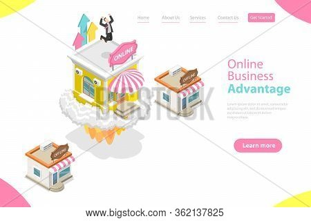 3d Isometric Flat Vector Landing Page Template Of Online Business Advantages