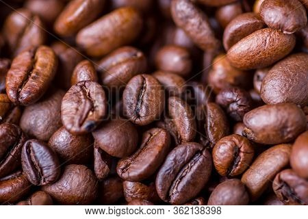 Texture Of Coffee Beans Close-up View From Above