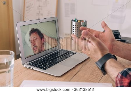 Business Video Call During Self-isolation Quarantine, Manager Talking Over Internet Connection To A