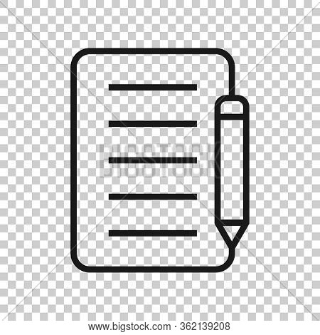 Blogging Icon In Flat Style. Document With Pen Vector Illustration On White Isolated Background. Con