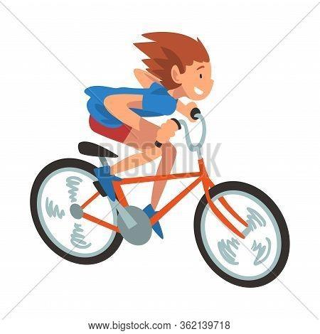 Girl Riding Bike Fast, Teenager Bicyclist, Summer Outdoor Activity Cartoon Vector Illustration