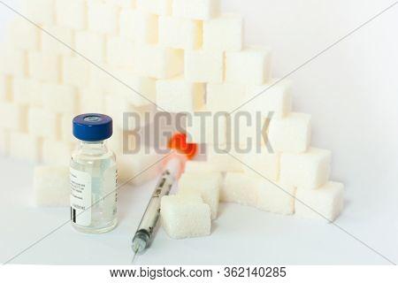 Sugar Addiction, Insulin Resistance, Unhealthy Diet, Sugar Cubes Pyramid, Bottles Of Insulin And Syr