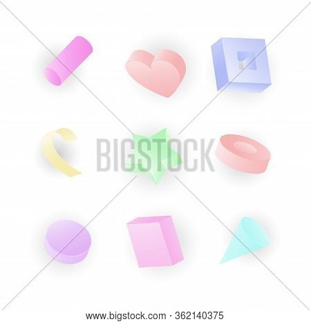 3d Vector Realistic Primitives Composition. Flying Shapes In Motion Isolated On Neon Colored Backgro