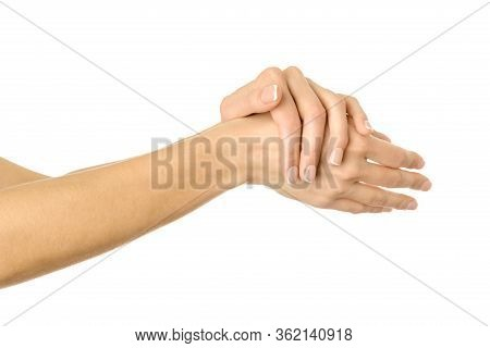 Applying Cream, Massaging, Washing Hands. Woman Hand With French Manicure Gesturing Isolated On Whit