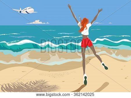 Girl Jumping For Joy Meeting A Plane. Tropical Landscape, Cute Character, Joyful Emotions. Sea Shore