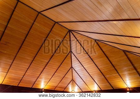 Steel Roof Structure. Moonlight Bulb. Steel Structure With Roof Tiles. Architectural Structure Of Ro