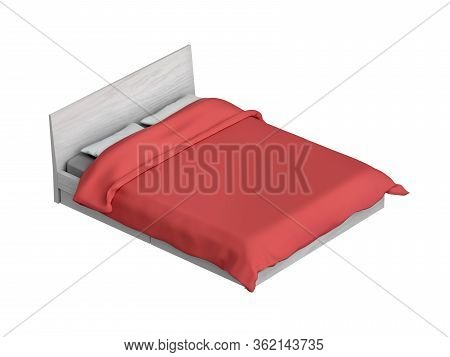 Bed With Red Duvet, Isolated On White Background. 3d Illustration