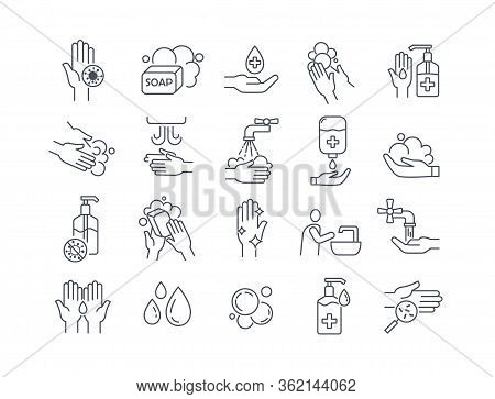 Large Set Of Twenty Black And White Line Drawn Washing And Hygiene Icons Showing Hand Washing, Sanit