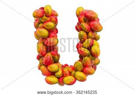 Letter U From Mangos, 3d Rendering Isolated On  White Background