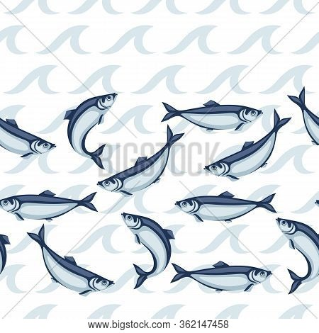 Seamless Pattern With Herring Fish. Pacific Sardine. Seafood Background.