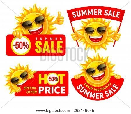 Set Of Cheerful Sun Characters Which Announce Summer Sale And Discounts. Showing Thumbs Up, Holding
