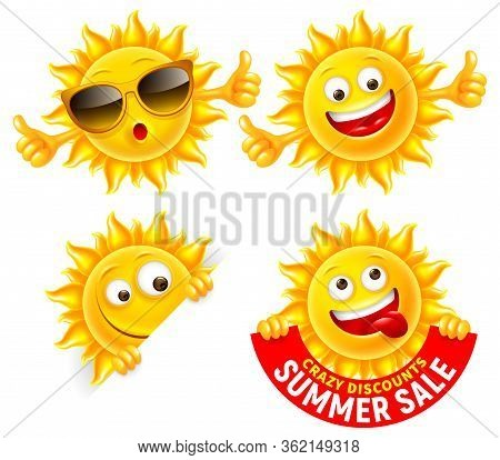 Set Of Cheerful Sun Characters. Showing Thumbs Up, Holding Summer Sale Banner, With Sunglasses. Brig