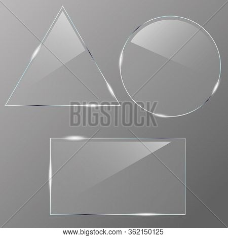 Set Of Realistic Glass. Realistic Clear Glass In Rectangle, Triangle And Circle Frame. Clear Glass S
