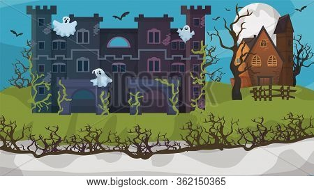 Halloween Horror House Ghost Gloomy Cottage Flat Vector Illustration. Nightmare Area Concept Banner,