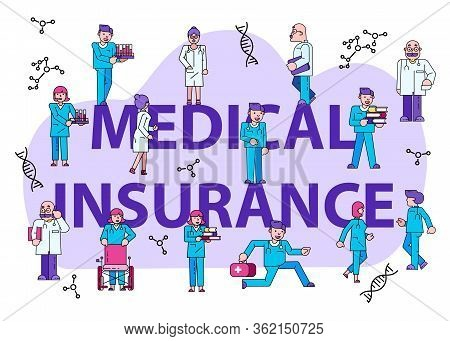 Medical Insurance Concept Text Banner Isolated On White, Flat Vector Illustration. Tiny Character Ma