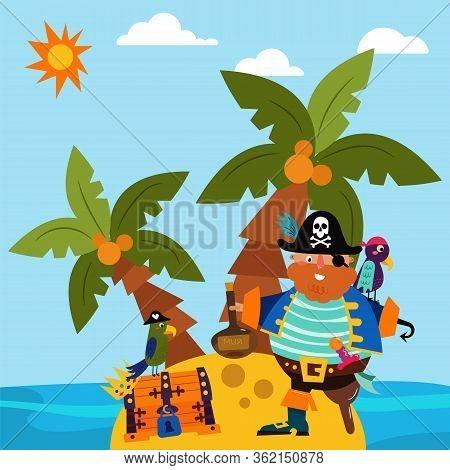 Pirate Character Male Standing Alone Island, Parrot Bird Flat Vector Illustration. Insular Treasure