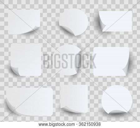 Set Of White Paper Stickers. Circle, Rectangles And Squares Label Stickers With Curled Corners, Edge