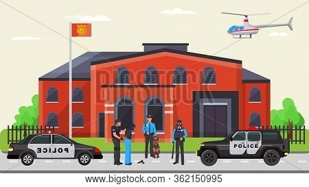 Police Detention Criminal, Militia Arrest Offender Flat Vector Illustration. Police Department Force