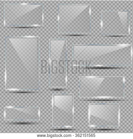 Set Of Realistic Glasses On Isolated Background. Clear Glass Showcase. Empty Realistic Acrylic Plate