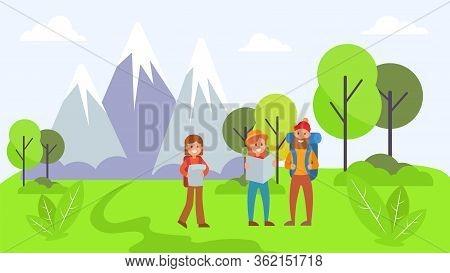 Outdoor Travel Mountain Traveler, Activity Character Rest Natural Park Flat Vector Illustration. Nat