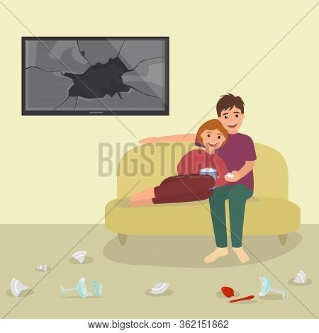 Lovely Character Pair, Male Female Eat Popcorn Reconcile Argument Swearing Vector Illustration. Love
