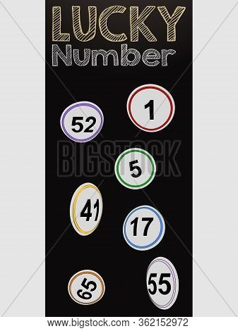 Black Vertical Panel With Hand Drawn Style Flying Bingo Lottery Buttons Number And Lucky Number Deco