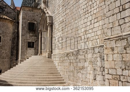 Ancient Church City View, And Stairs Of  Dubrovnik Old Town, Walls Of Old Bricks And Stones, A Beaut