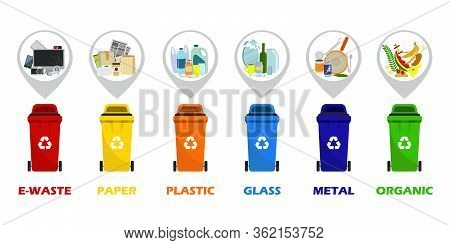 Containers For All Types Of Garbage. Waste Segregation. Separation Of Waste In Trash Bins. Sort Wast