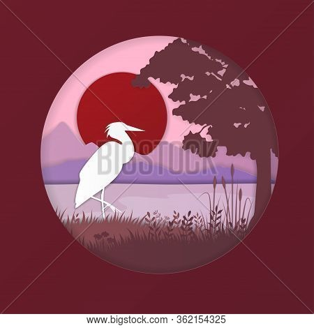 Cartoon Color Paper Art Nature Landscape Background Scene Flat Design Style Include Of Heron, Sun An