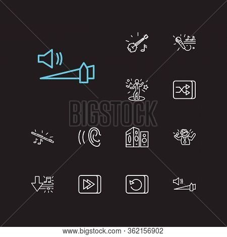 Musical Icons Set. Loudspeaker And Musical Icons With Banjo, Shuffle Button And High Volume. Set Of