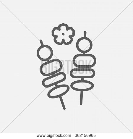 Yakitori Icon Line Symbol. Isolated Vector Illustration Of Icon Sign Concept For Your Web Site Mobil