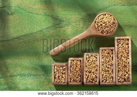 Fenugreek Consumption And Sale Statistics - Fenugreek Seeds. Trigonella Foenum-graecum.