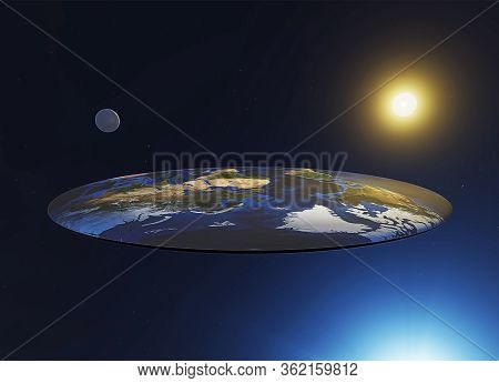 Flat Earth View, Myths And Legends. Discworld, A Parallel Universe. 3d Illustration