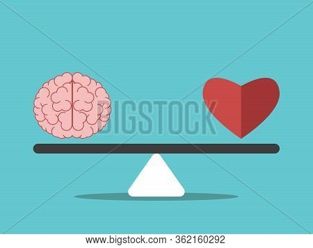 Brain And Heart On Seesaw Weight Scale. Mind And Emotion Balance, Intelligence, Feeling, Choice, Jus