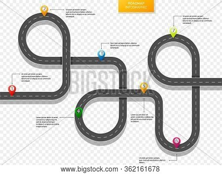 Highway Roadmap With Pins. Infographic Design Template With Place For Your Text.