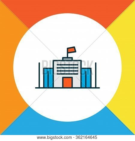 City Governance Icon Colored Line Symbol. Premium Quality Isolated Parliament Element In Trendy Styl