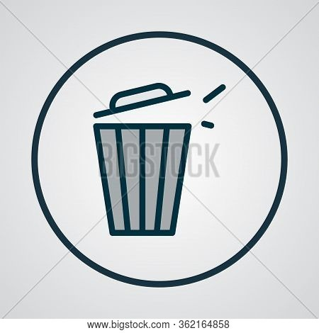 Trash Bin Icon Colored Line Symbol. Premium Quality Isolated Trashcan Element In Trendy Style.